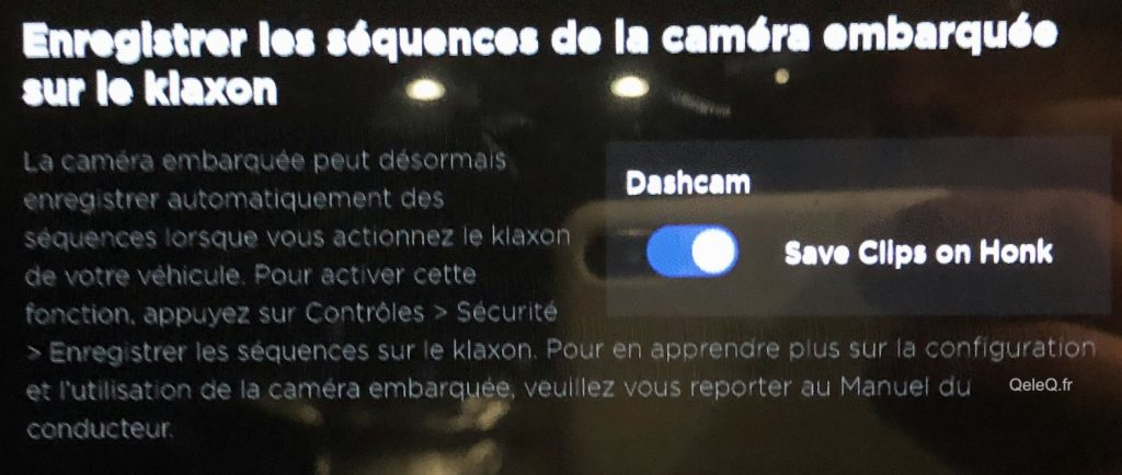 comment declencher camera de surveillance tesla dashcam au klaxon