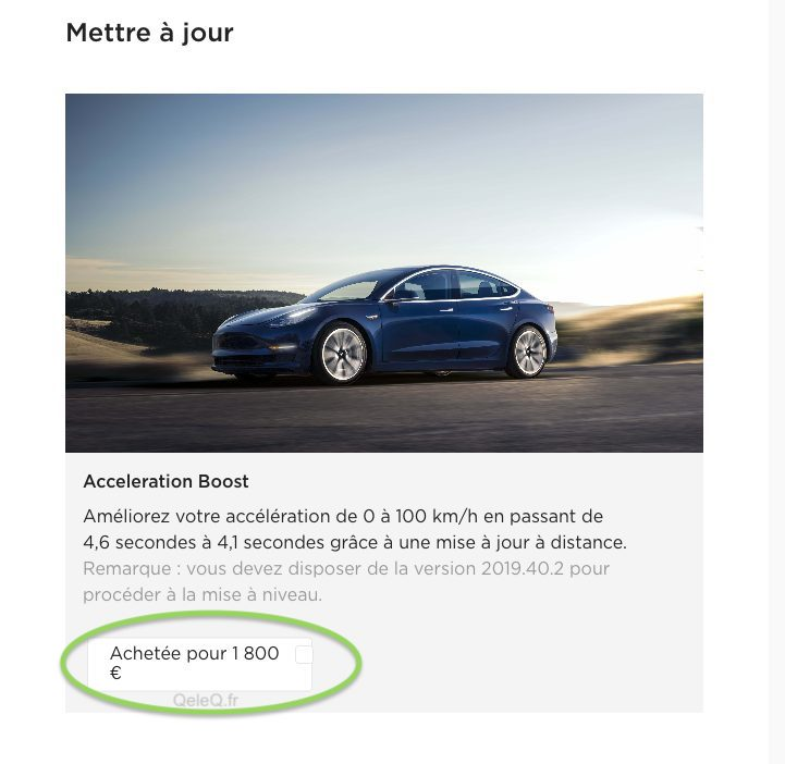 comment activer option boost performance sur tesla model 3