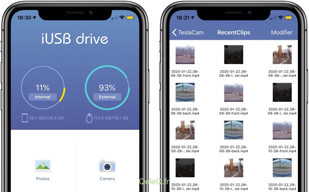 appli teslacam iPhone iUSB pour clé greendrive
