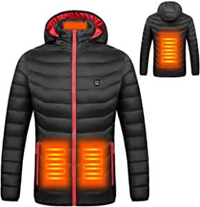 doudounce chauffante vue de face et de dos, avec en orange les résistances chauffantes