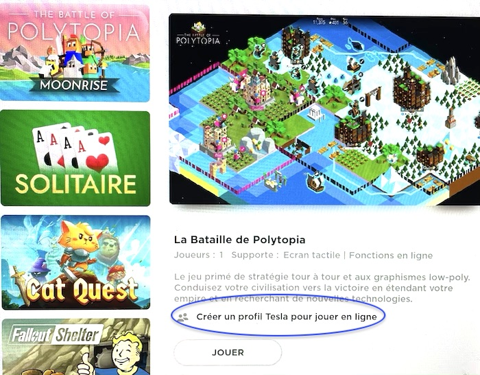 jeu bataille de polytopi pour tesla model 3 dans mise a jour avec possibilité de jouer en ligne