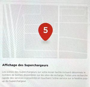 affichage de l'occupation et du statut des supercharger sur tesla a l'ecran