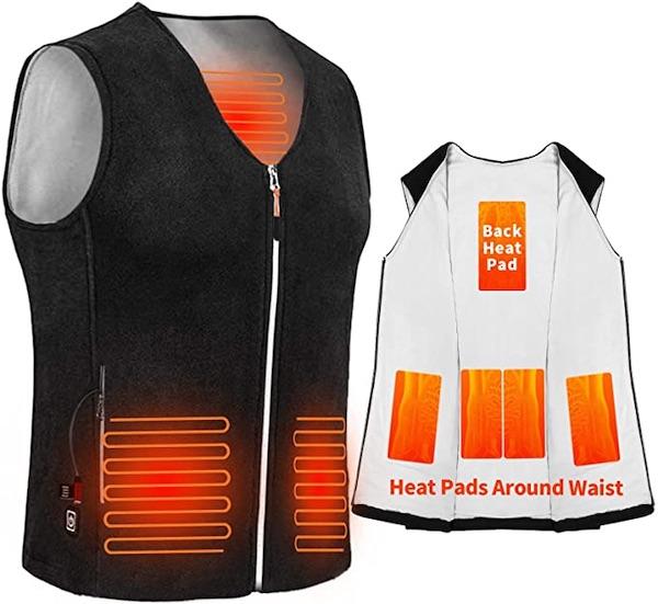 veste chauffante sans manche avec batterie