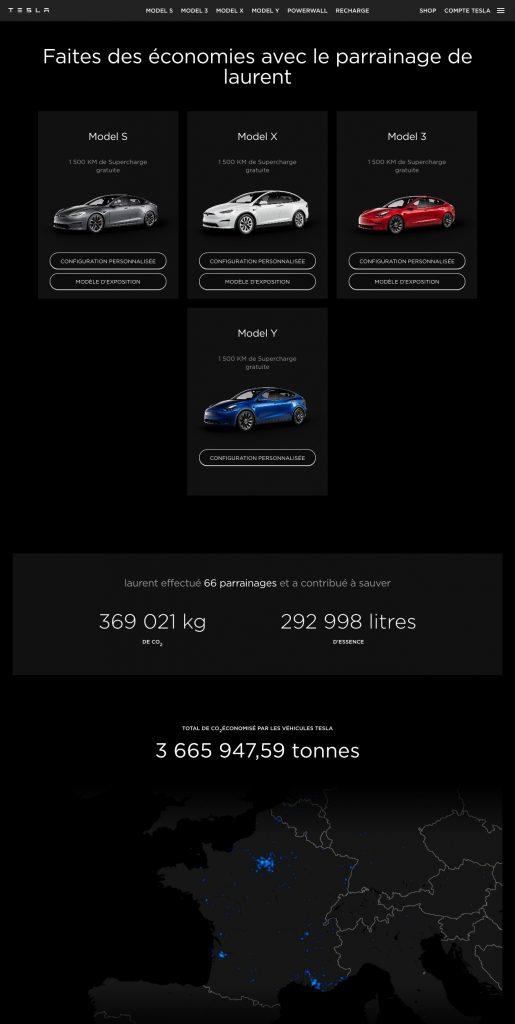 code parrain Tesla km gratuits supercharge