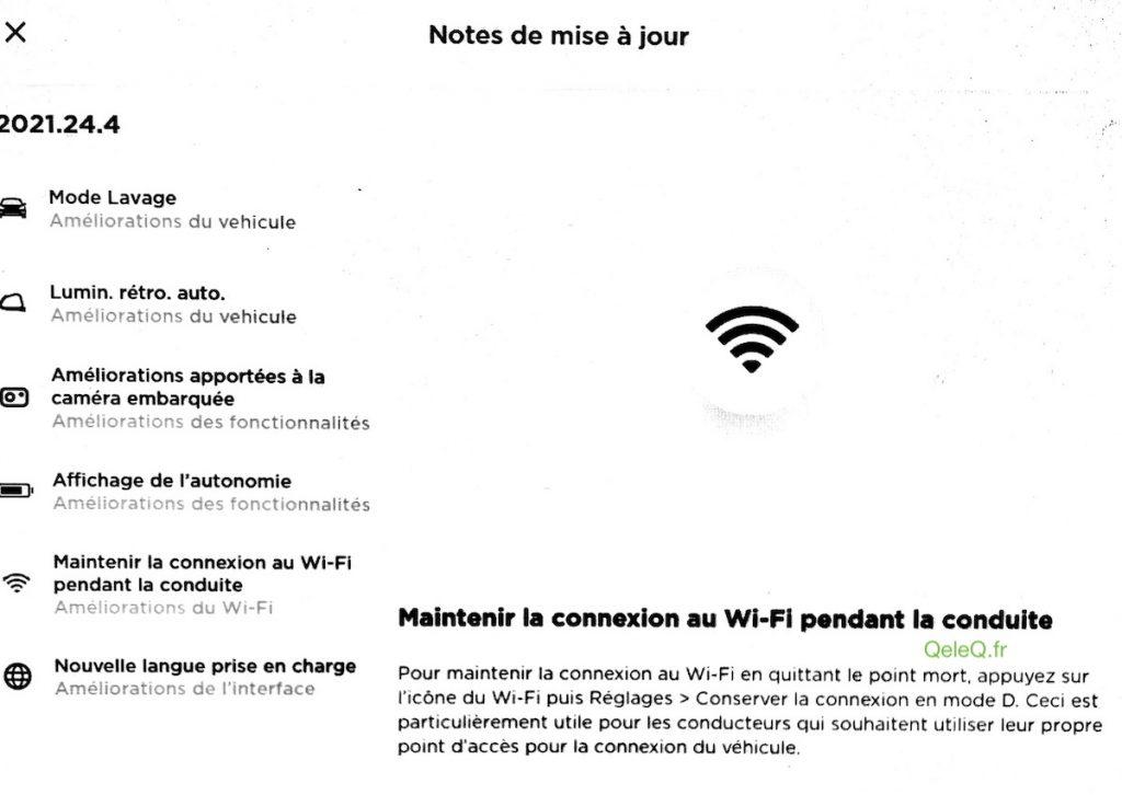 Mise a jour tesla 2021.24.4 ajout du wifi depuis le telephone quand on conduit