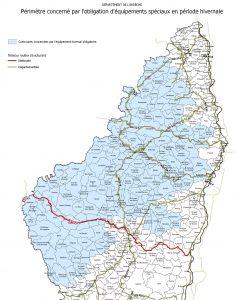 carte des communes de l'Ardèche concernées par pneus neiges obligatoires après 2021 hiver